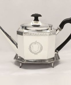 Antique English Silver Teapot With Stand